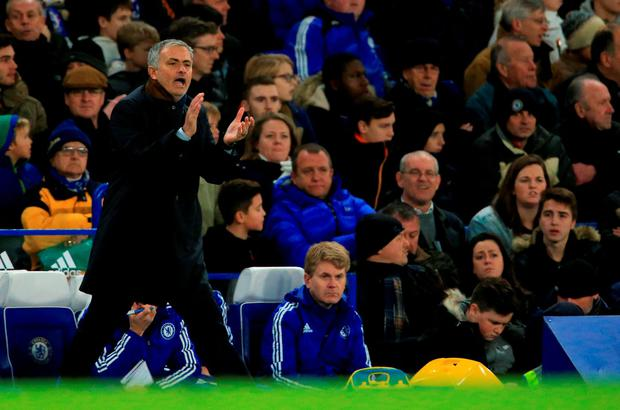Chelsea manager Jose Mourinho shouts on the touchline