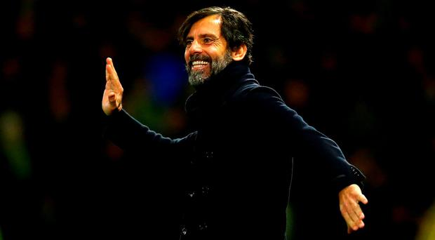 Watford manager Quique Flores celebrates