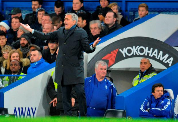 Jose Mourinho vents his frustration on the touchline at Stamford Bridge yesterday