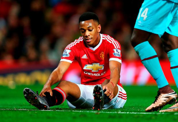 MANCHESTER, ENGLAND - DECEMBER 05: Anthony Martial of Manchester United reacts during the Barclays Premier League match between Manchester United and West Ham United at Old Trafford on December 5, 2015 in Manchester, England. (Photo by Clive Brunskill/Getty Images)