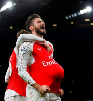 Arsenal striker Olivier Giroud celebrates scoring
