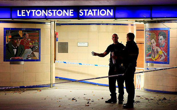 Police cordon off Leytonstone Underground Station after the stabbing incident (PA)