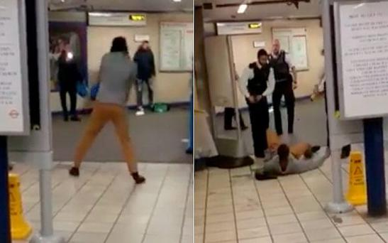 Police fire a Taser, left, and the attacker is floored, right