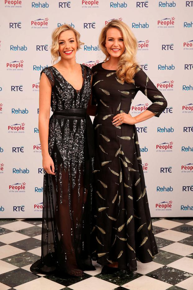 Blathnaid Treacy and Aoibhin Garrihy at the 2015 People of the Year Awards organised by Rehab and held in RTE. Picture: Robbie Reynolds
