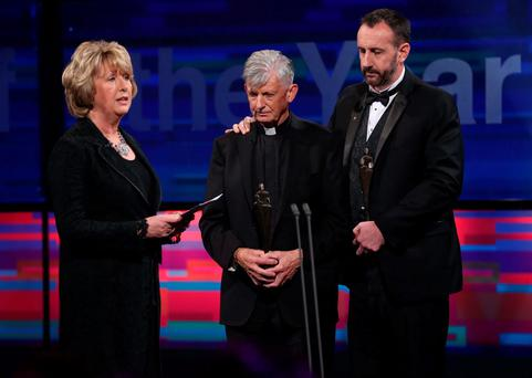 Mary McAleese pictured on stage after presenting Father Brendan McBride and Philip Grant, Consul General of Ireland to the Western United States with their International Person of the Year Award for their work in supporting families and the survivors of the Berkley tragedy in San Francisco at this year's People of the Year Awards organised by Rehab. Pic. Robbie