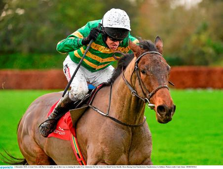 A Great View, with Barry Geraghty up, on their way to winning the Ladies Free Admission On New Years Eve Rated Novice Hurdle. Horse Racing from Punchestown. Punchestown, Co. Kildare. Picture credit: Cody Glenn / SPORTSFILE