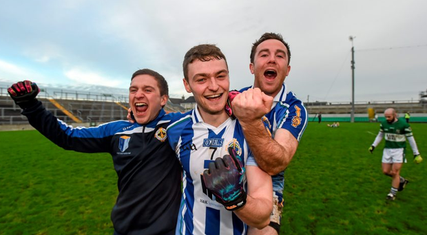 Ballyboden St Enda players Colm Dunne, Aran Waters and Stephen O'Connor celebrate following their side's victory in the LeinsterSenior Club Football Championship Final. Picture credit: Stephen McCarthy / SPORTSFILE