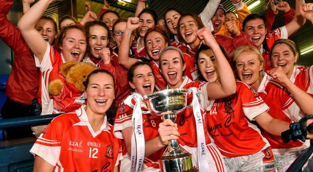 Donaghmoyne players celebrate with the cup after the game. All-Ireland Ladies Senior Club Championship Final, Donaghmoyne v Mourneabbey. Parnell Park, Dublin. Picture credit: David Maher / SPORTSFILE