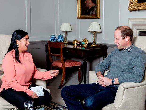 The Duke of Cambridge speaking with aspiring journalist Sophia Kichou, whose interview will feature in the Big Issue magazine on Monday December 7.