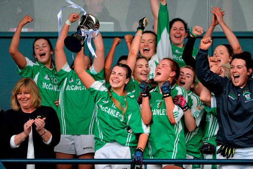 Milltown captain Kelly Boyce Jordan celebrates with her team-mate's after the All-Ireland IFC Ladies Club final at Parnell Park