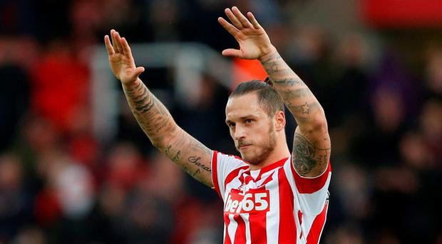 Stoke City's Marko Arnautovic acknowledges fans after the game