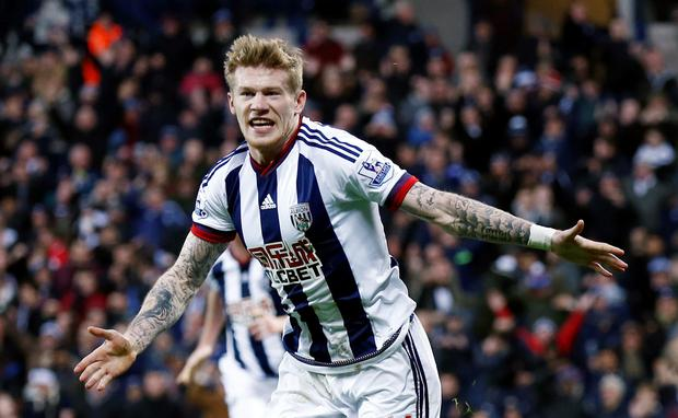 James McClean celebrates scoring his first goal for West Brom