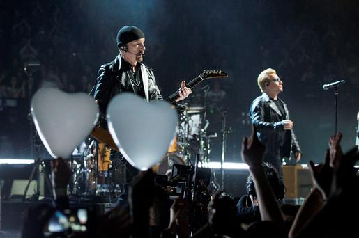 U2 playing at the Paris' AccorHotels Arena Pic:Mark Condren 6.12.2015