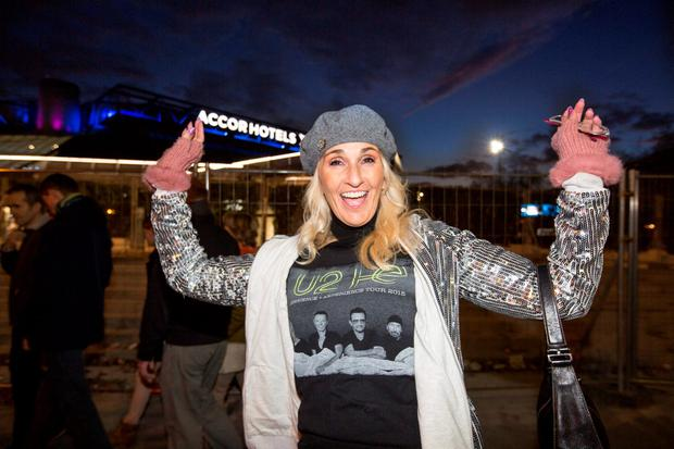 Alicia Foley from California enjoying the U2 concert at the Paris' AccorHotels Arena. Pic:Mark Condren 6.12.2015