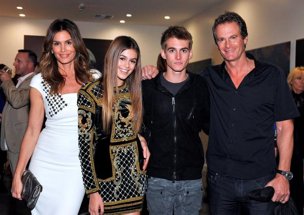(L-R) Cindy Crawford, model Kaia Jordan Gerber, Presley Walker Gerber, and businessman Rande Gerber attend a book party in honor of