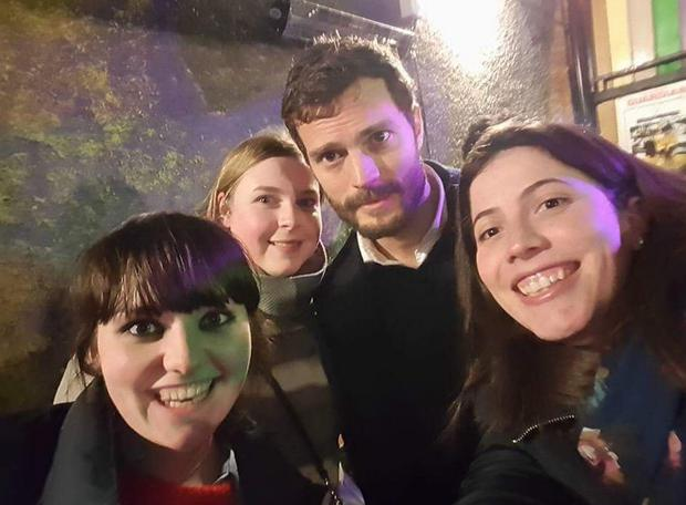 Jamie Dornan with fans in Belfast