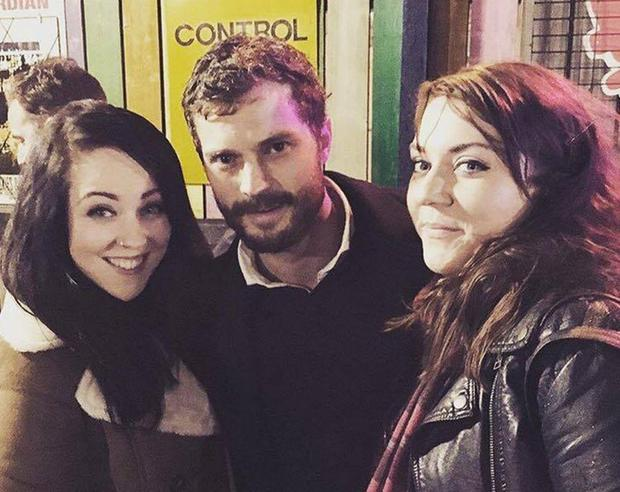 Jamie Dornan posed with fans in Belfast
