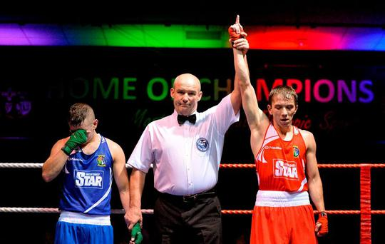 TJ Waite, Ormeau Road Boxing Club, Belfast, Co. Antrim, right, reacts after beating Jason McKay, St Paul's Boxing Club, Co. Antrim, during their 52kg semi-final bout on Friday night. IABA National Elite Championships, National Boxing Stadium, Dublin. Picture credit: Piaras Ó Mídheach / SPORTSFILE