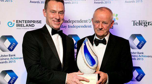 Pictured at the presentation of the Overall Ulster Bank Business Achievers Award were (L – R): Paul Stanley, Interim CEO, Ulster Bank and Michael Burke, Managing Director, Channelle Group