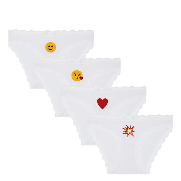 Cheek Frills 4-Pack Emoji Briefs, ‎€40, Brown Thomas