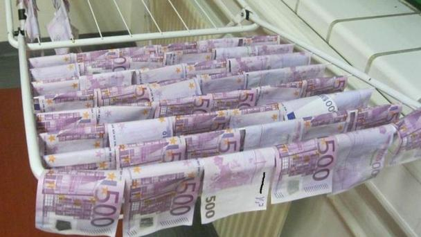 The money had to be dried out after it was fished out of the Danube Credit: Vienna Polizei