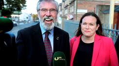 Sinn Féin party leader Gerry Adams with General Election candidate for Dublin/Fingal Louise O'Reilly