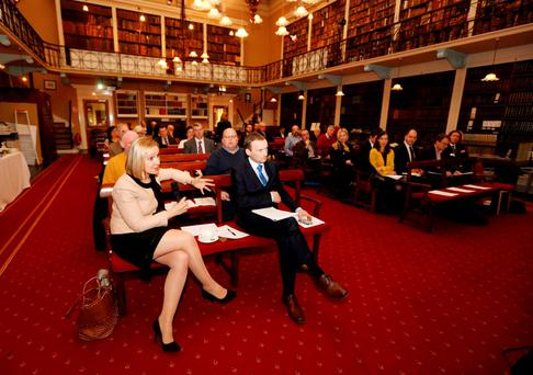 Lucinda Creighton at yesterday's Flat Tax Symposium in the Royal Irish Academy, Dublin. Photo: RollingNews.ie