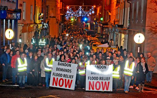 Protesters in Bandon demand flood relief