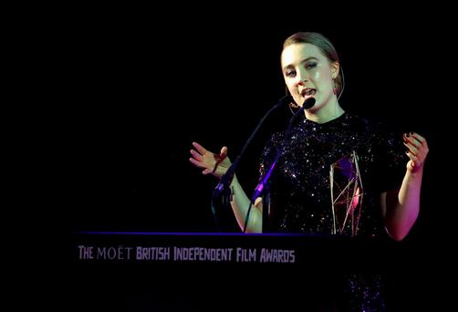Saoirse Ronan wins the award for Best Actress at The Moet British Independent Film Awards