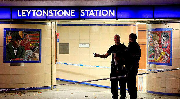 Police cordon off Leytonstone Underground Station in east London following a stabbing incident. Photo: PA