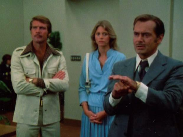 Lee Majors, Lindsay Wagner, and Martin E Brooks in The Six Million Dollar Man