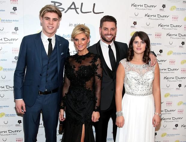 Jay Duffy, Lisa Duffy, Keith Duffy and Mia Duffy pictured at the Keith Duffy Foundation Charity Ball at Powerscourt Hotel in Enniskerry to raise funds for Irish Autism Action and Finn's First Steps Charities..Picture: Brian McEvoy