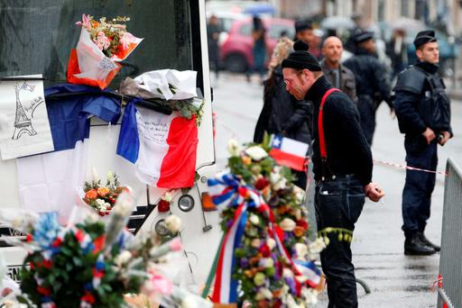 Jesse Hughes of Eagles of Death Metal band mourns in front of the Bataclan concert hall to pay tribute to the shooting victims in Paris, France, December 8, 2015