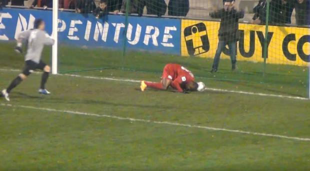 Herman Kore scores against Chateaubriant in the French Cup