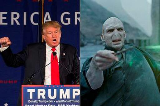 Donald Trump (left) and Voldemort (right)