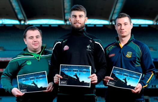Mark Curry (Fermanagh), Paul Divilly (Kildare) and James Toher (Meath) at the launch of the GPA's report on the Christy Ring, Nicky Rackard and Lory Meagher competitions.