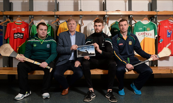 At the launch of the GPA's report on Ring, Rackard and Meagher competitions are, from left, Mark Curry, Fermanagh senior hurler, Donal O'Grady, author of the report, Paul Divilly, Kildare senior hurler, and James Toher, Meath Senior hurler