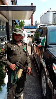 Armed security is a fact of life in Nigeria for westerners. The Irish ambassador travels in an armored jeep.