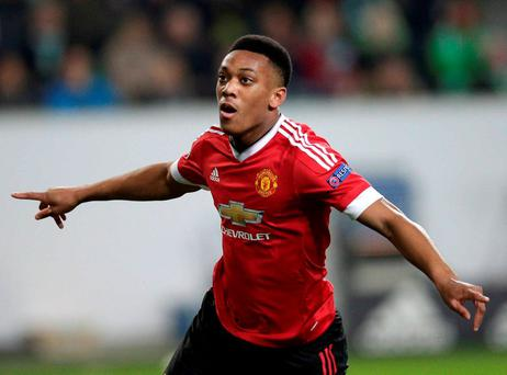 Anthony Martial celebrates his early goal