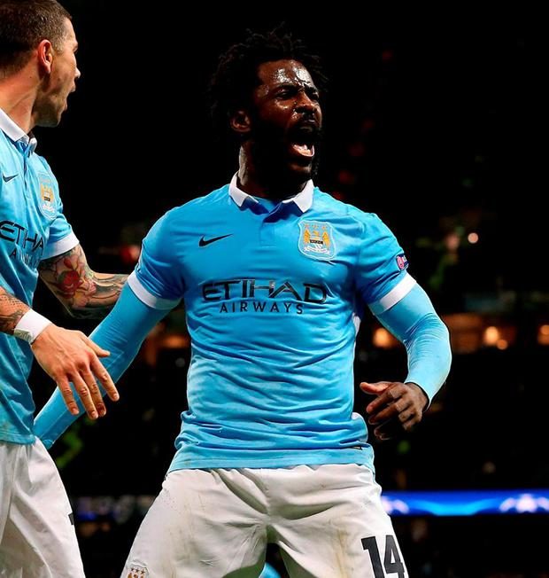 Manchester City's Wilfried Bony celebrates scoring his side's fourth goal at the Etihad Stadium.