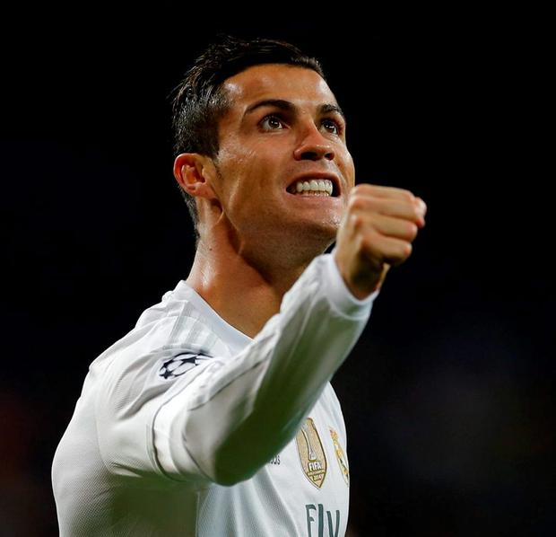 Real Madrid's Cristiano Ronaldo celebrates scoring his side's 4th goal