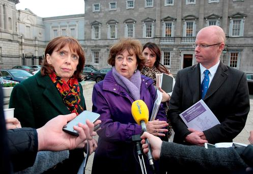 Social Democrats deputies Roisin Shortall, Catherine Murphy and Stephen Donnelly meet the media ahead of their Private Members Business calling for the introduction of an Independent Anti-Corruption agency at Leinster House yesterday. Photo: Tom Burke