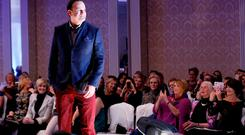 Leo Varadkar on the catwalk at the Oireachtas Christmas Charity Fashion Show in the Shelbourne Hotel last night