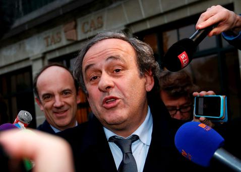 UEFA President Michel Platini leaves after a hearing at the Court of Arbitration for Sport (CAS) in Lausanne, Switzerland. Photo: Reuters