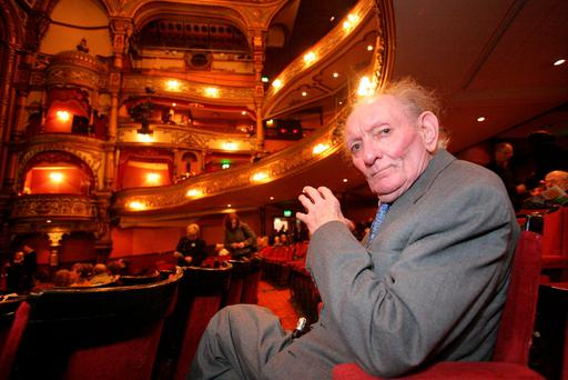 Brian Friel in the auditorium at Belfast's Grand Opera House before the the final performance of his play, The Homeplace.