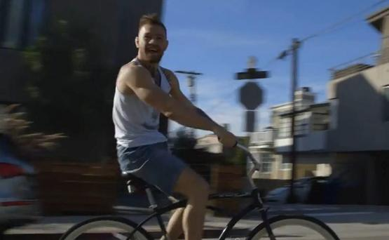 Conor McGregor cycles to training in California
