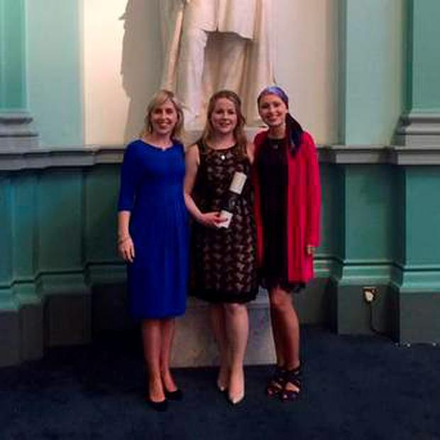 Sarah (right) with her sisters Orla and Susan