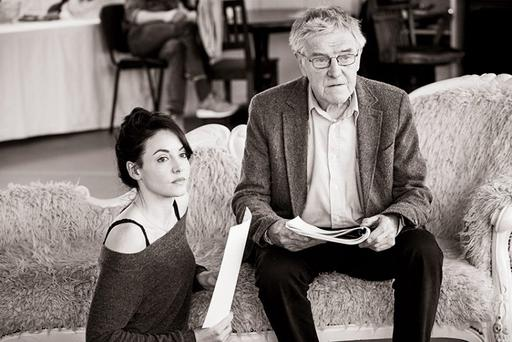 Caoimhe O'Malley (Gloria) and Eamon Morrissey (Mr Crampton) during rehearsals for You Never Can Tell. PHOTO: Ros Kavanagh