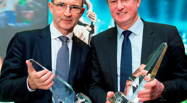 Republic of Ireland manager Martin O'Neill and Northern Ireland manager Michael O'Neill, who were jointly presented with the Philips Manager of the Year Award last week