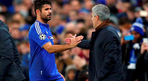 Chelsea manager Jose Mourinho with Diego Costa as he is substituted